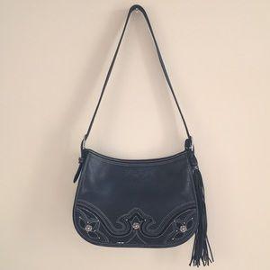 Brighton Black Leather Western Tassel Handbag